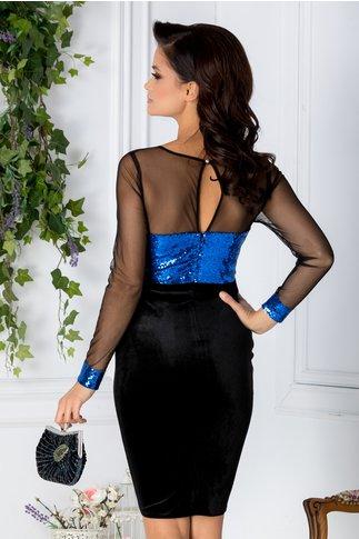 Rochie Glitter neagra din catifea cu paiete albastre