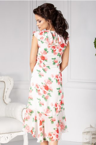 Rochie Gloria vaporoasa alba cu trandafiri rozalii