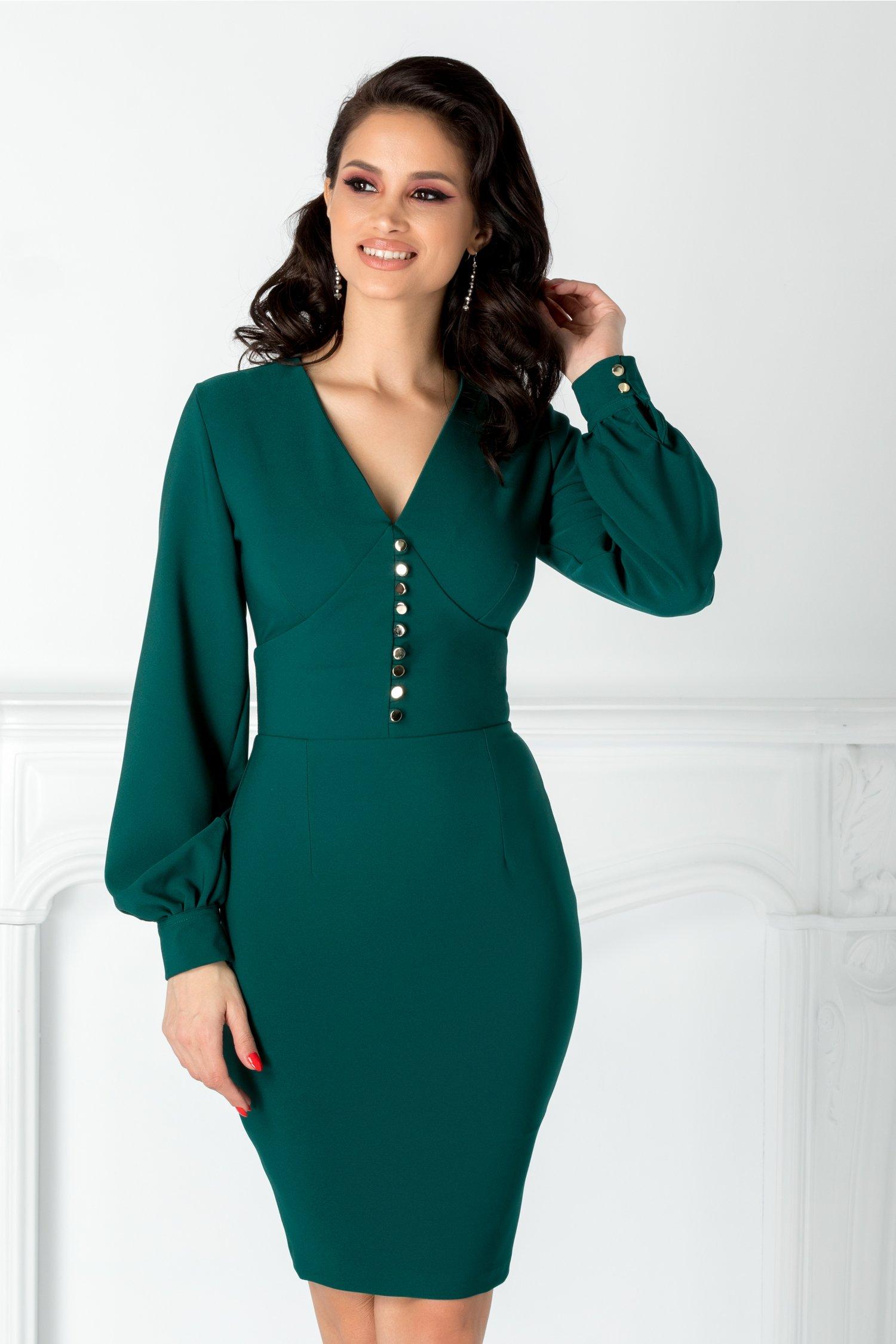 Rochie Gratiela verde cu nasturi la bust