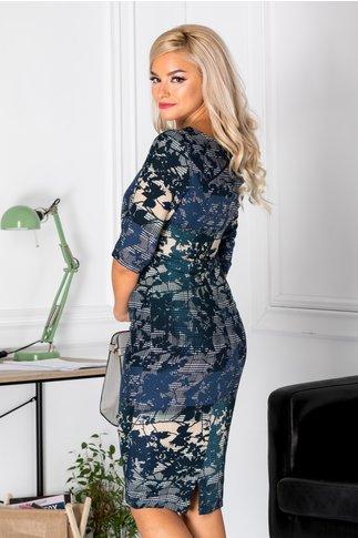 Rochie Graziela bleumarin cu imprimeu divers
