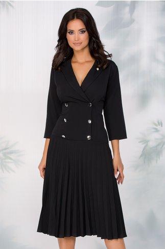 Rochie Greta neagra cu nasturi decorativi si fusta plisata