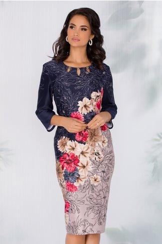 Rochie Gretchen bleumarin cu imprimeu floral