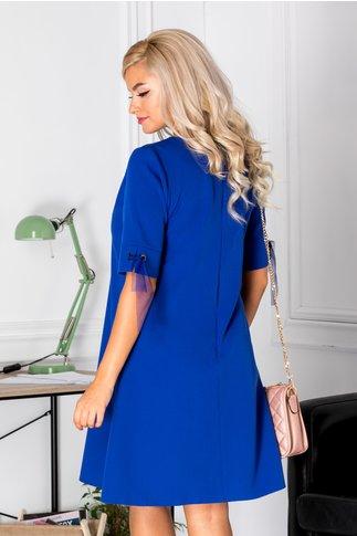 Rochie Gretta albastra evazata eleganta