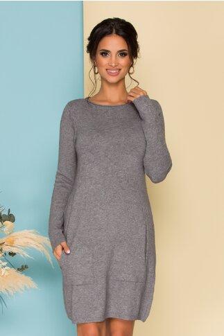 Rochie gri din tricot cu buzunare functionale
