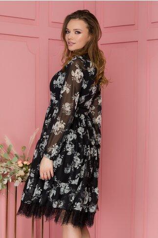 Rochie Gya neagra cu imprimeu floral alb