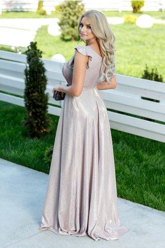 Rochie Gyulia lunga roz de seara cu reflexii