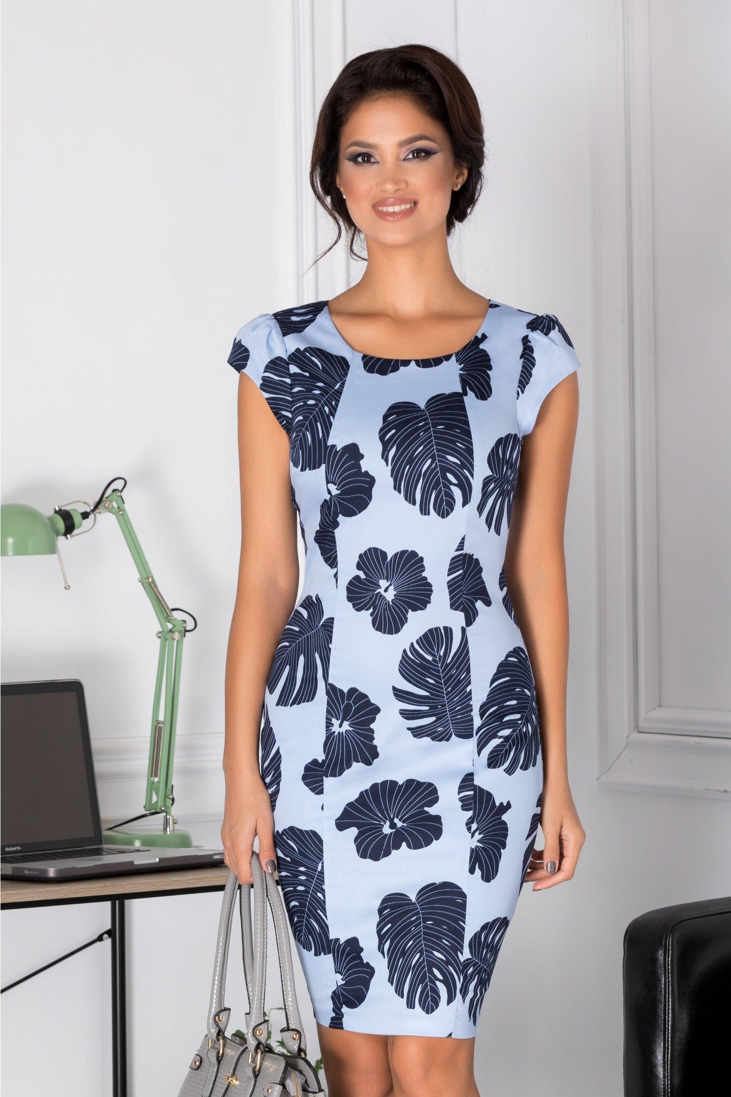 Rochie Hana bleu cu imprimeu bleumarin