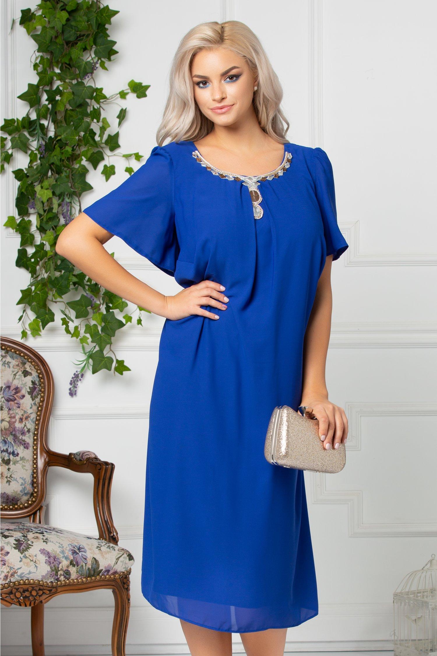 Rochie Hanna albastra de ocazie cu aplicatie pretioasa la guler