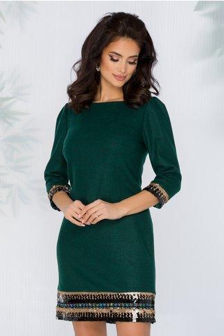 Rochie Hanna verde cu aplicatii din paiete la baza rochiei si a manecilor