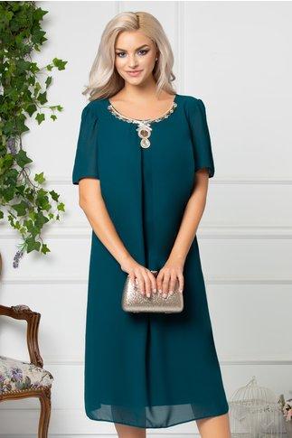 Rochie Hanna verde de ocazie cu aplicatie pretioasa la guler