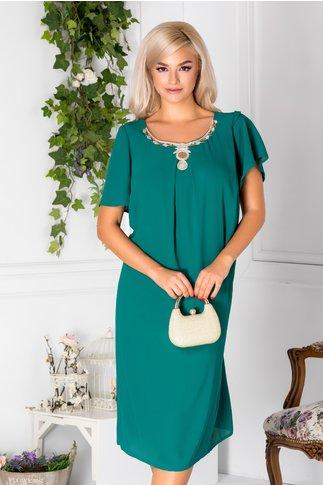 Rochie Hanna verde deschis de ocazie cu aplicatie pretioasas la guler