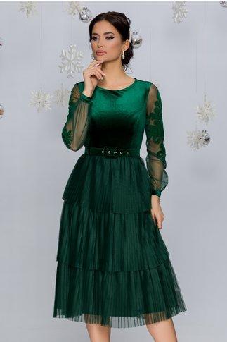 Rochie Harra verde din catifea cu tull in pliuri si curea in talie