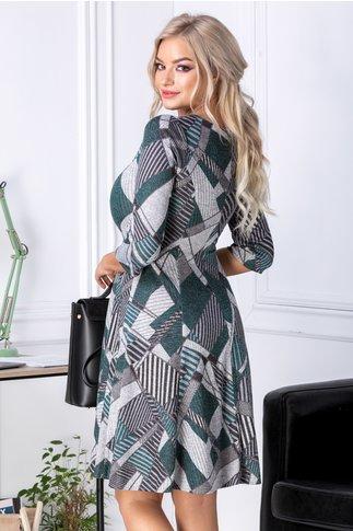 Rochie Havana gri cu imprimeu geometric verde