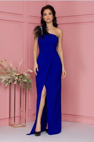 Rochie Heather albastra lunga accesorizata cu pene si strasuri