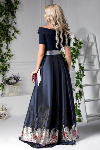 Rochie Heather bleumarin lunga cu imprimeu negru si gri
