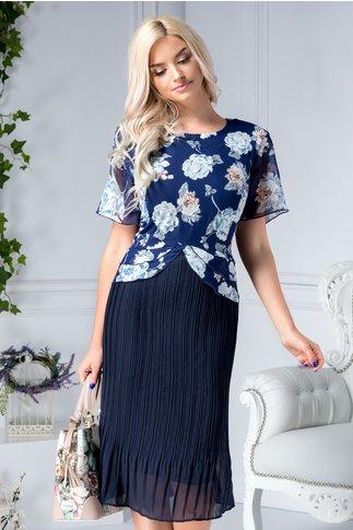 Rochie Heidi midi bleumarin cu flori bleu