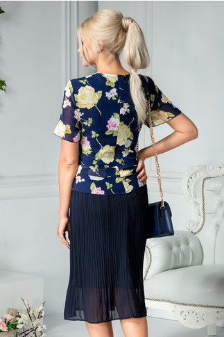 Rochie Heidi midi bleumarin cu flori galbene