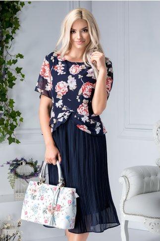 Rochie Heidi midi bleumarin cu flori rosii