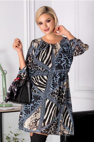 Rochie Helen albastra cu imprimeu divers