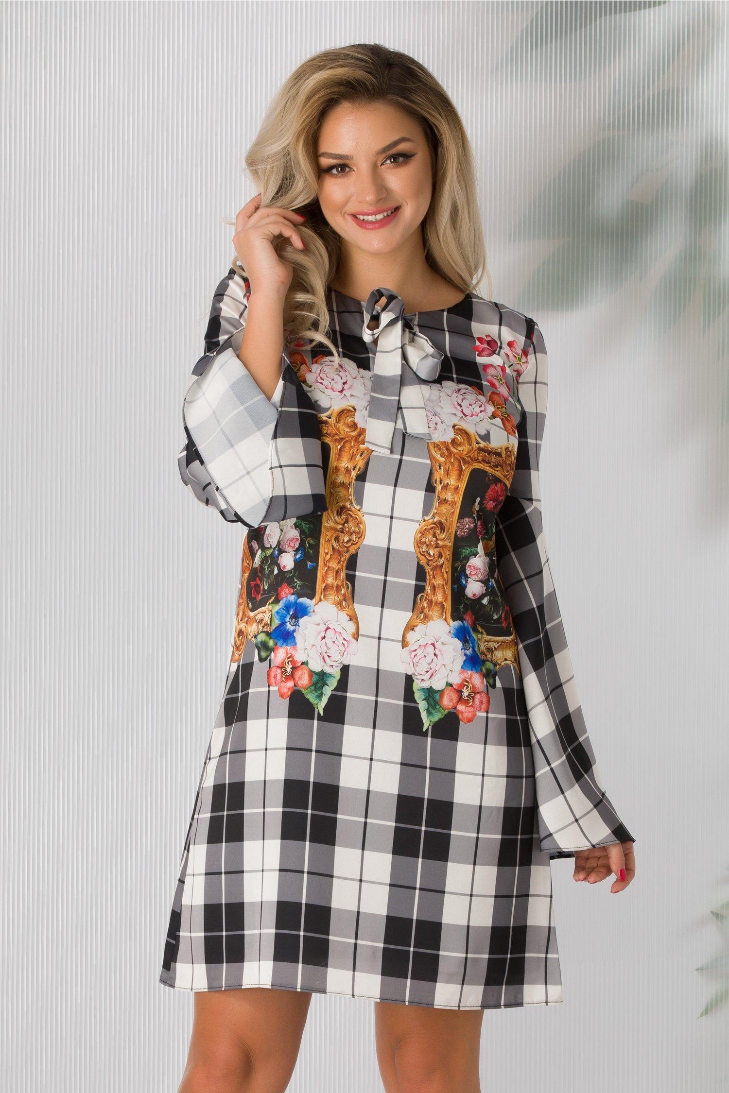 Rochie Helen cu carouri si imprimeuri florale