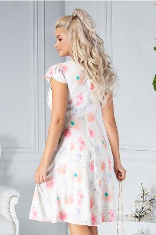 Rochie Helga de zi alba cu flori pastelate