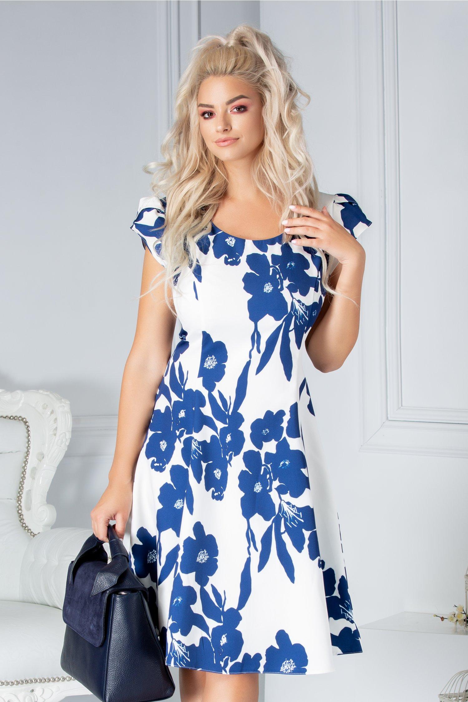 Rochie Helga de zi alba cu imprimeu floral bleumarin
