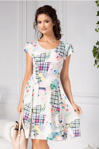 Rochie Helga de zi cu imprimeuri geometrice si flori
