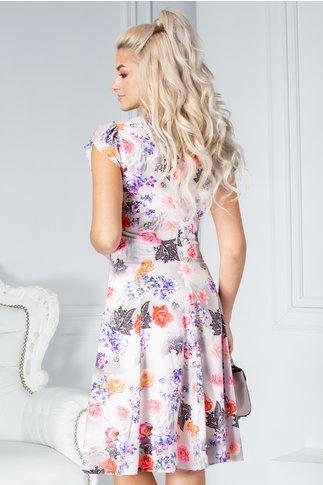Rochie Helga de zi gri cu imprimeu floral colorat
