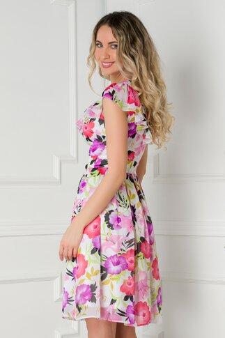 Rochie Hellen alba cu imprimeuri florale colorate