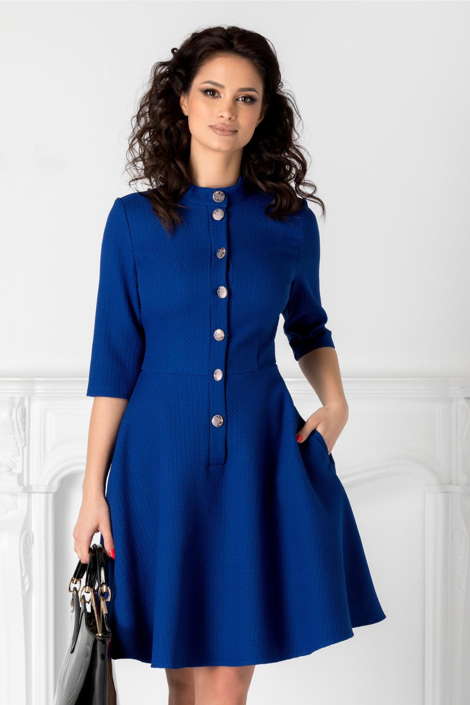 Rochie Hera albastra cu nasturi