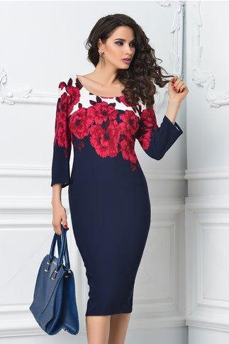 Rochie Hera midi bleumarin cu imprimeu floral grena