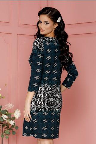 Rochie Hera neagra cu imprimeu turcoaz si alb
