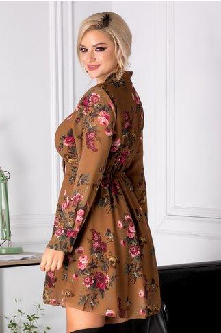 Rochie Hermina maro cu imprimeu floral