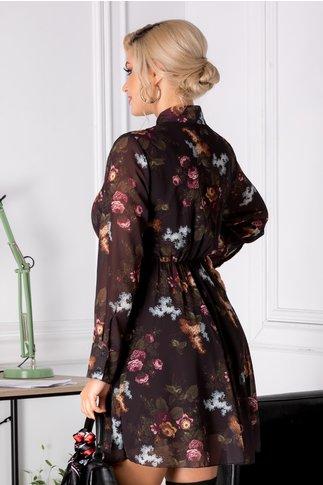 Rochie Hermina neagra cu imprimeuri florale