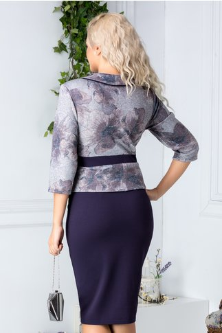 Rochie Herta bleumarin stil sacou gri cu imprimeu floral