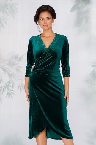 Rochie Hollie verde inchis cu aplicatii din strasuri stralucitoare