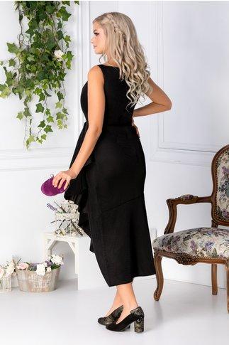 Rochie Holly neagra asimetrica petrecuta