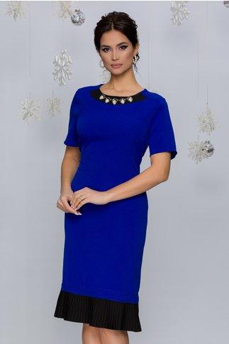 Rochie Huelva albastra cu negru si accesorii la baza gatului