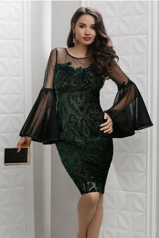 Rochie Leonard Collection Ianula de seara cu broderie catifea verde