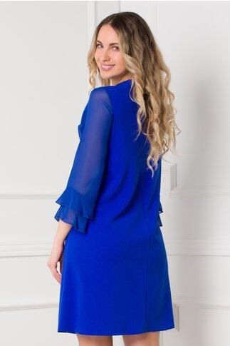 Rochie Iarina albastra cu maneci din voal si volanase