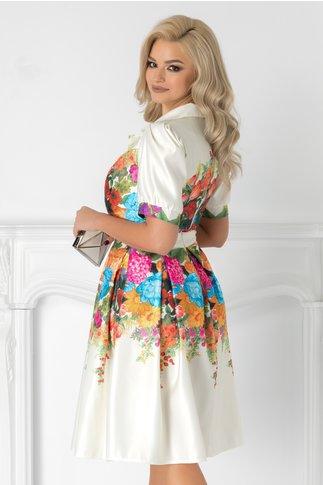 Rochie Iasmina ivoire cu imprimeu floral multicolor