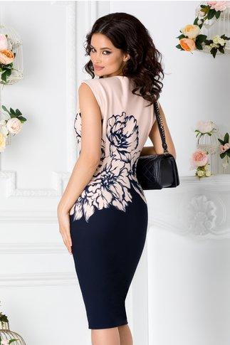 Rochie Iasmine bleumarin cu imprimeuri florale