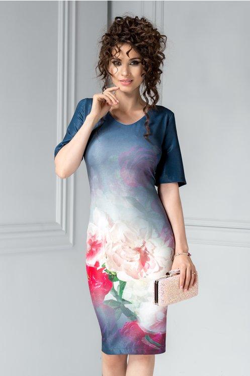 Rochie Idan bleumarin cu imprimeuri florale
