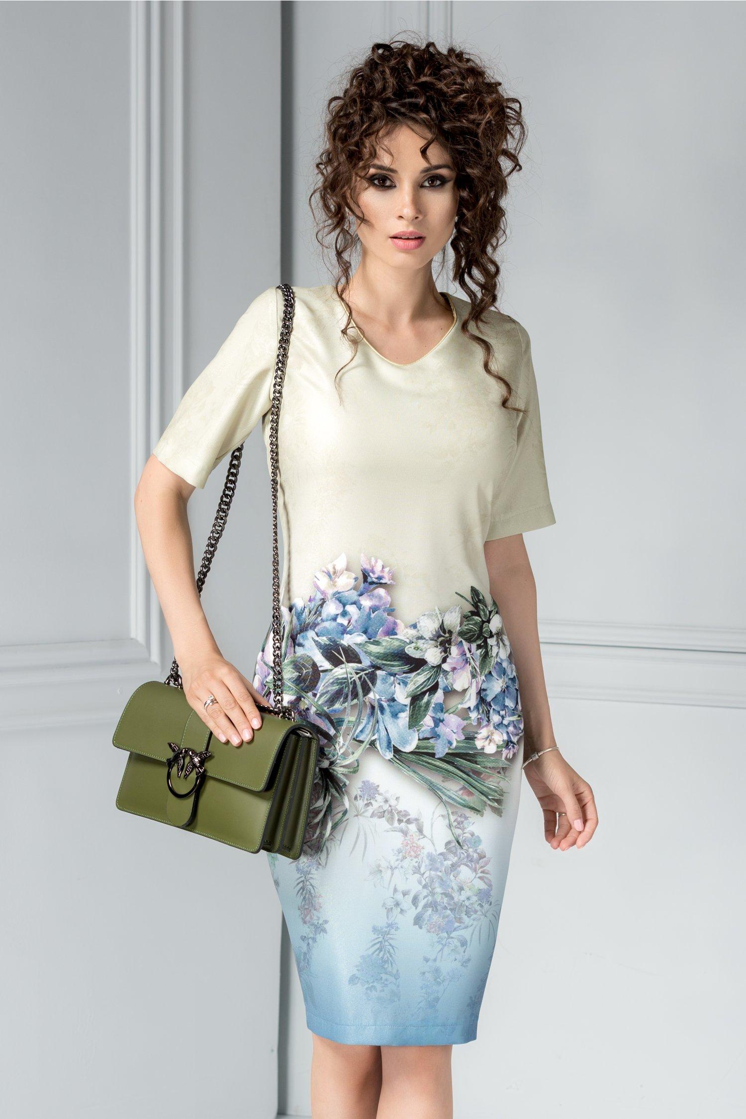 Rochie Idan ivoar cu imprimeuri florale
