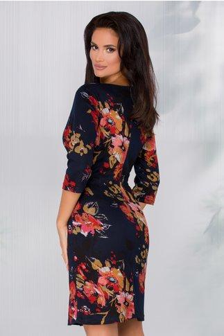 Rochie Ildi bleumarin cu imprimeu floral in nuante tomnatice