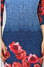 Rochie Ildi bleumarin cu imprimeu floral rosu