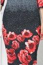 Rochie Ildi gri office cu imprimeu floral rosu