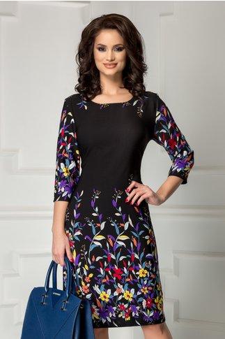 Rochie Ildi neagra cu imprimeu floral colorat divers