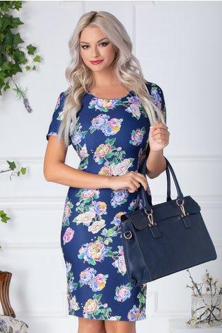 Rochie Ildy albastra cu flori multicolore