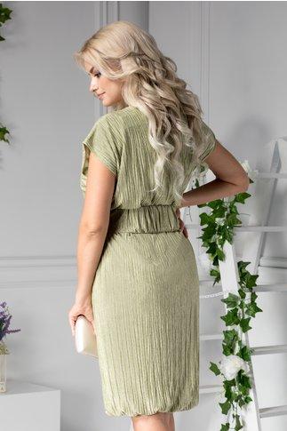 Rochie Ilina creponata verde cu curea